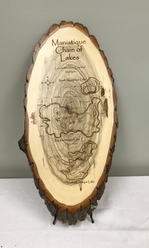 Manistique Chain of Lakes Laser Engraved Wood Art