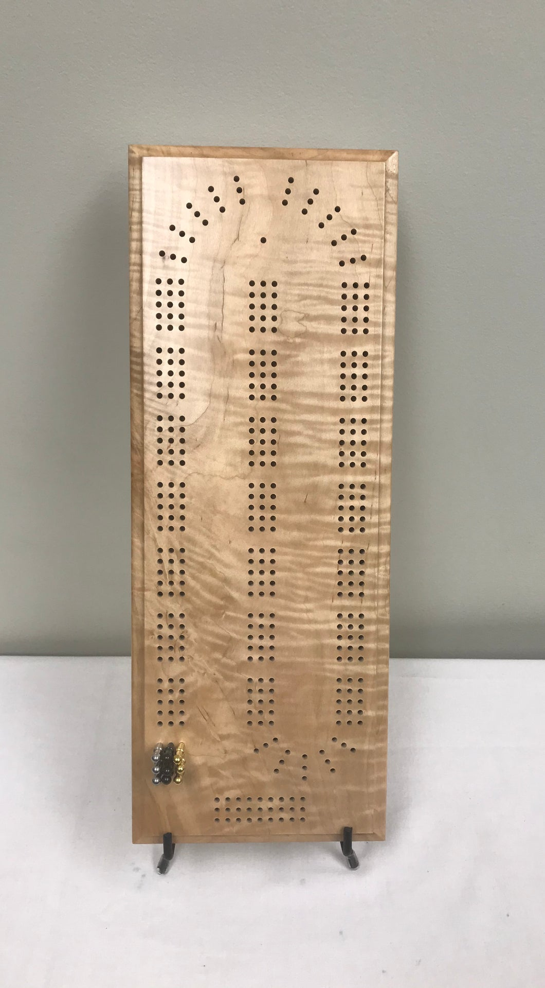 Cribbage Board - Curly Maple Cribbage Board