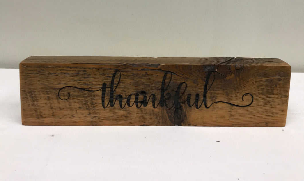 Reclaimed Barnwood Sign - Thankful
