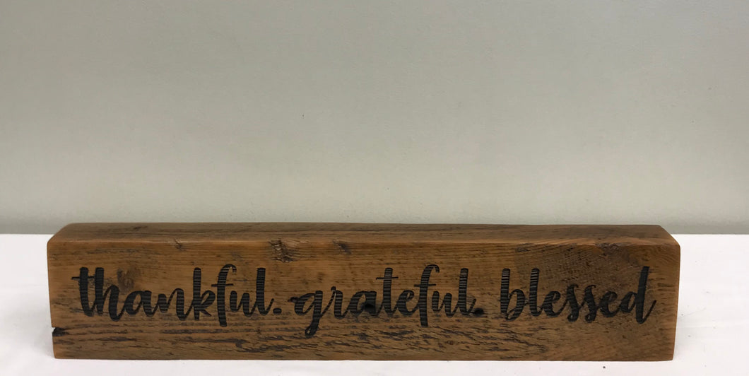 Reclaimed Barnwood Sign- Thankful/Grateful/Blessed