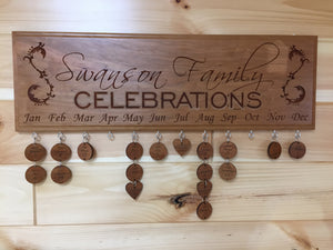 Custom Lasered Family Celebrations Board