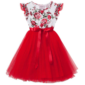 Pearl Floral Short Sleeve Tutu Dress Red
