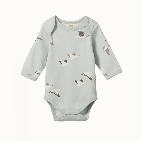Nature Baby Cotton Long Sleeve Bodysuit Geese