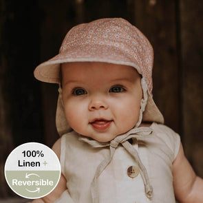 Reversible Baby Flap Sun Hat Polly/Flax