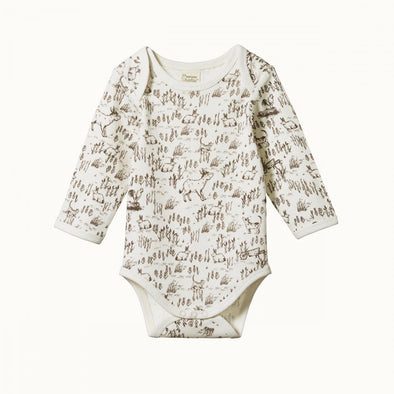 Nature Baby Cotton Long Sleeve Bodysuit Barnyard