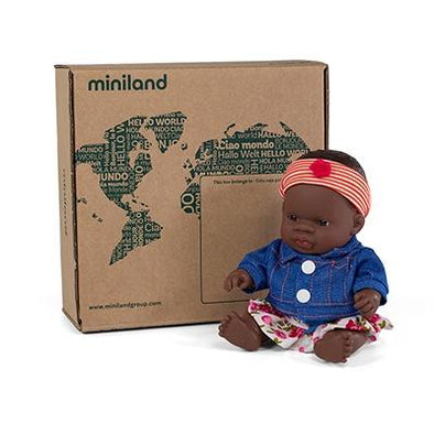 Miniland Anatomically Correct Baby Doll African Girl and Outfit Boxed, 21 cm