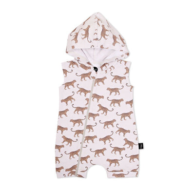 Kapow Kids Leopard Hooded Zip Romper