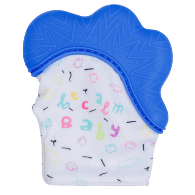 Becalm Baby Teething Mitt Blue
