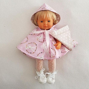 Hooded Doll Cape Pink Bunnies