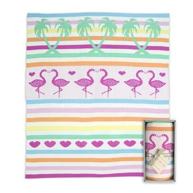 Weego Bamboo Knit Blanket Flamingos