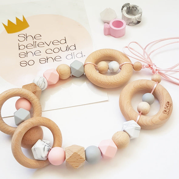 Scandi Pram Garland Blush Marble