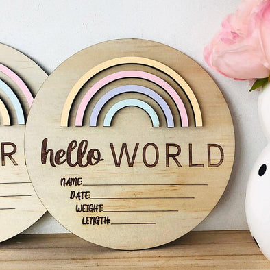Timber Tinkers Hello World Rainbow Birth Announcement Pastel