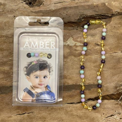 Amber Necklace 33-35cm Yellow Amber/Amethyst & Pastels