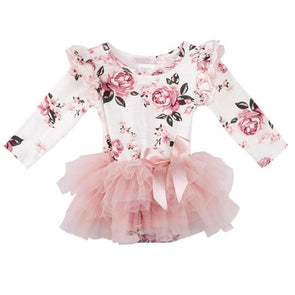 Forever Florals Long Sleeve Petti Romper Pink
