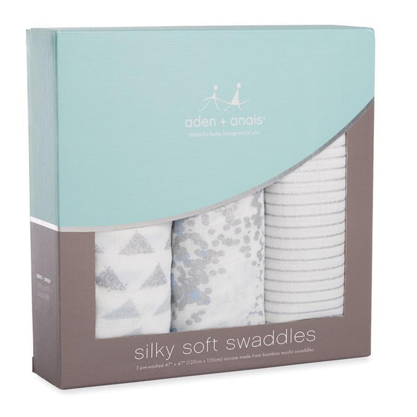 Silky Soft Swaddles 3pk Metallic Blue Moon