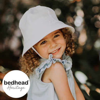 White Toddler Ruffle Bucket Hat