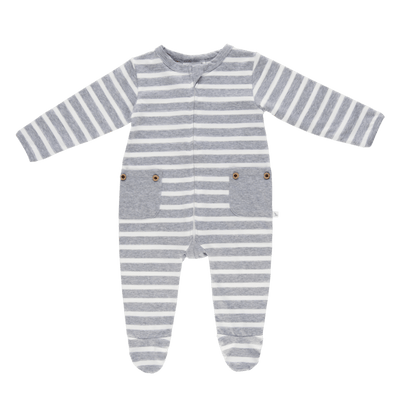 Grey Stripe Long Romper