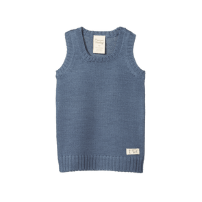 Nature Baby Merino Knit Vest Deep Blue