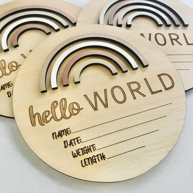 Timber Tinkers Hello World Rainbow Birth Announcement Sand Dunes