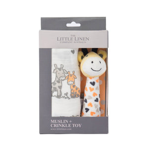 Muslin Wrap & Crinkle Toy Set Giraffe
