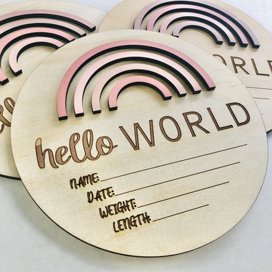Timber Tinkers Hello World Rainbow Birth Announcement Pretty Pinks