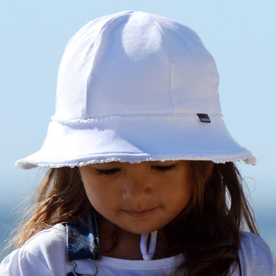 White Ruffle Trim Baby Bucket Hat