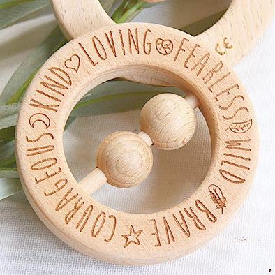 Natural Wooden Teething Rattle Ring You Are...