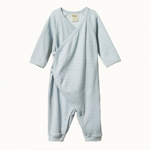 Nature Baby Pointelle Kimono Stretch & Grow Pearl Blue