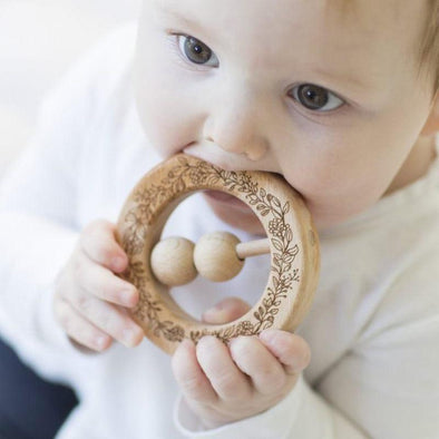 Natural Wooden Teething Rattle Ring Wreath