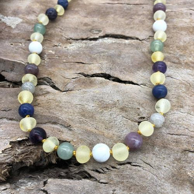 Amber Necklace 33-35cm Raw Yellow Amber/Howlite/Labradorite/Aventurine