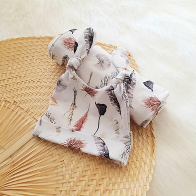 Boho Palm Leaf Beanie Swaddle Set