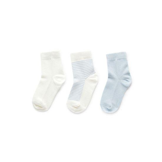 Pure Baby 3 Sock Pack Pale Blue