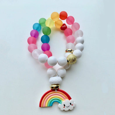 Bobble Necklace Sparkly Rainbow