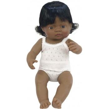 Miniland Anatomically Correct Baby Doll Latin American Girl, 38 cm