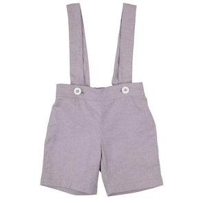 Toby Linen Suspender Shorts Grey