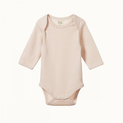 Nature Baby Cotton Long Sleeve Bodysuit Petal Stripe