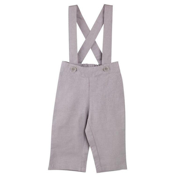 Toby Linen Suspender Pants Grey