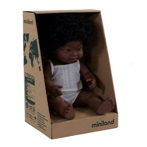 Miniland Anatomically Correct Baby Doll African Down Syndrome Girl, 38 cm
