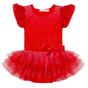 Angel Sparkle Short Sleeve Petti Romper Red