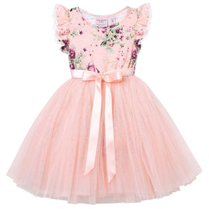 Sadie Floral Short Sleeve Tutu Dress Petal