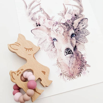 Bambi Teether Vintage Rose