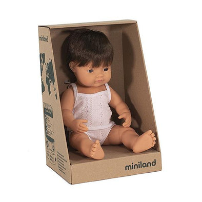 Miniland Anatomically Correct Baby Doll Caucasian Brunette Boy, 38 cm