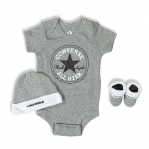 Converse Newborn Classic 3pc Set Dark Grey Heather