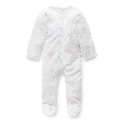 Pure Baby Essentials Zip Growsuit Pale Pink Tree