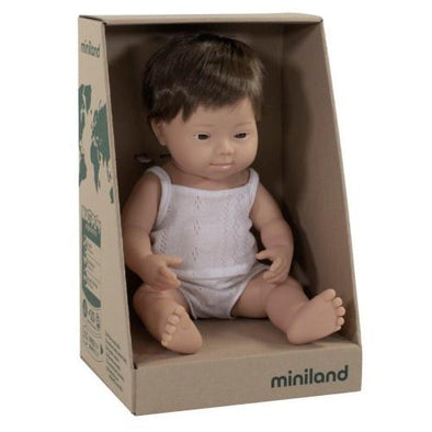 Miniland Anatomically Correct Baby Doll Caucasian Down Syndrome Boy, 38 cm
