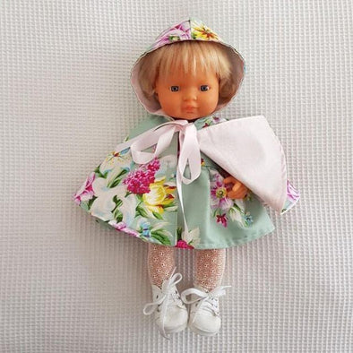 Hooded Doll Cape Sage Floral