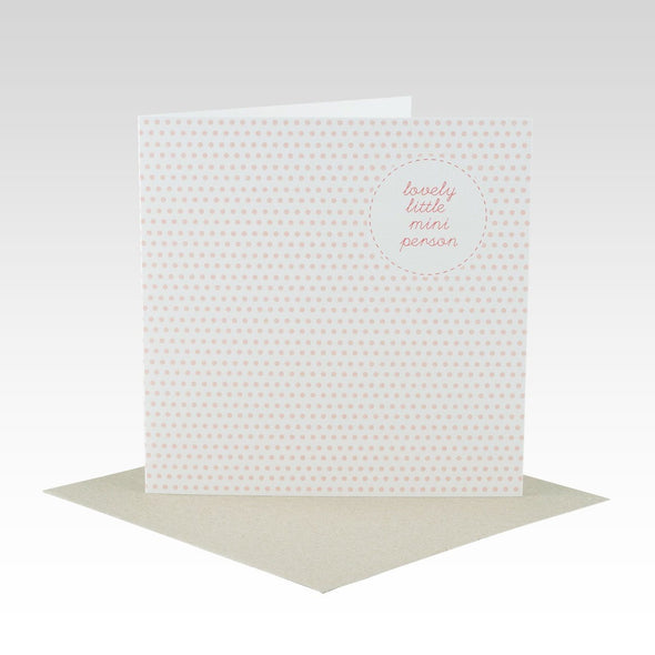 Mini Person Pink Spot Baby Card