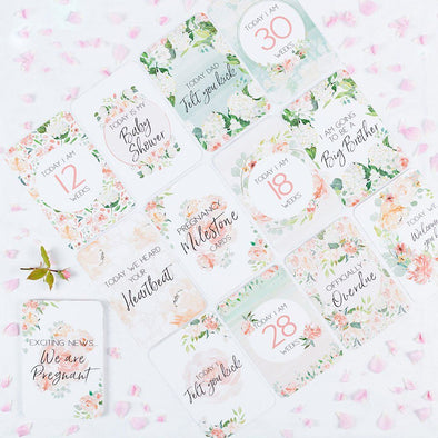 Belle & Grace Floral Pregnancy Milestone Cards