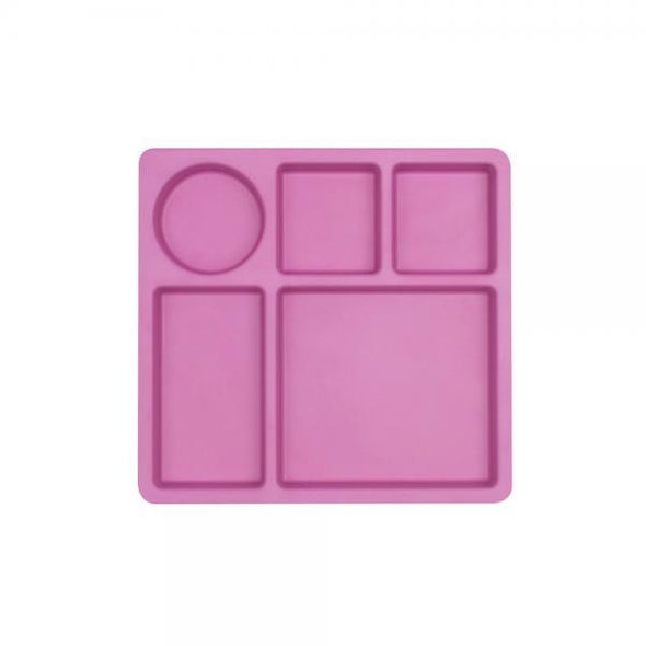 Divided Bamboo Plate Flamingo Pink