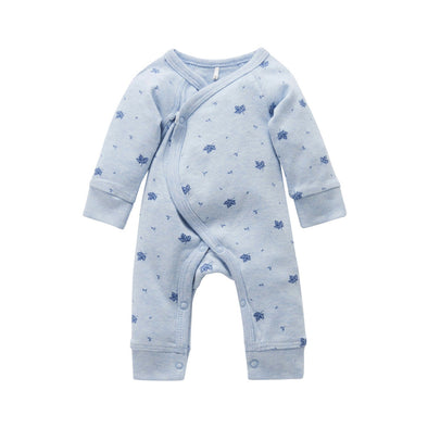 Pure Baby Premie Crossover Growsuit Pale Blue Leaf